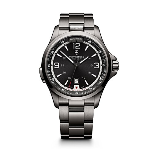 Victorinox Men's 241665 Swiss Army Night Vision Dark Grey Dial Black Ice PVD Steel - Night Army Vision Swiss