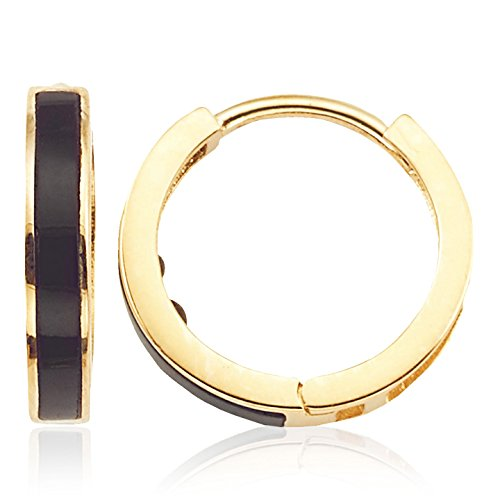 Onyx Huggie Earring in 14K Yellow Gold for Women and Girls