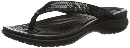 crocs Women's Capri V Sequin W Flip Flop, Black, 8 M US