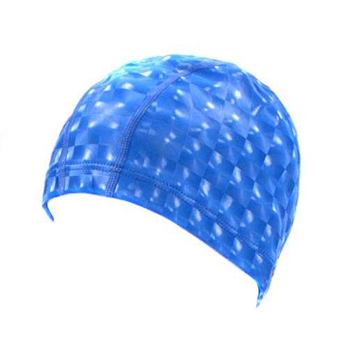 (FimKaul Swimming Cap Waterproof Unisex Premium Silicone No-Slip for Adults Woman and Men One Size (Blue))