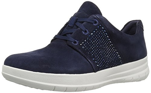 FitFlop Women's Sporty-Pop X Crystal Fashion Sneaker,Midnight Navy,6.5 M US