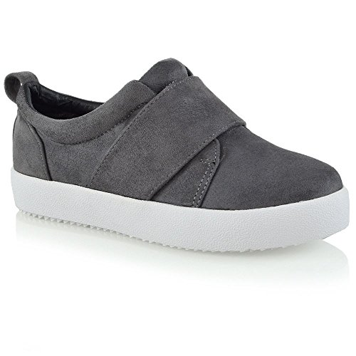 ESSEX GLAM Womens Fashion Sneakers Slip On Flat Crossover Band Elasticated Casual Comfy Shoes Grey Faux Suede