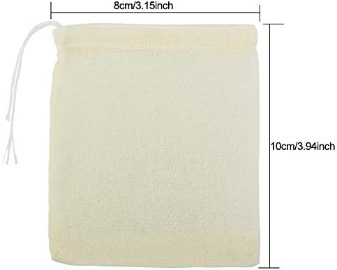 50 bolsas de filtro de t/é reutilizables Bolsas de muselina de algod/ón con cord/ón especias hierbas bolsa de malla para t/é suelto jab/ón y regalos de joyer/ía