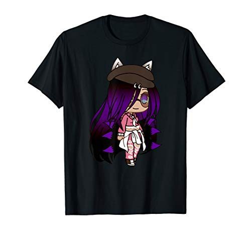 Cute Chibi style Kawaii Anime Girl with Fox Ears and Tails T-Shirt (Anime Girl With Fox Ears And Tail)