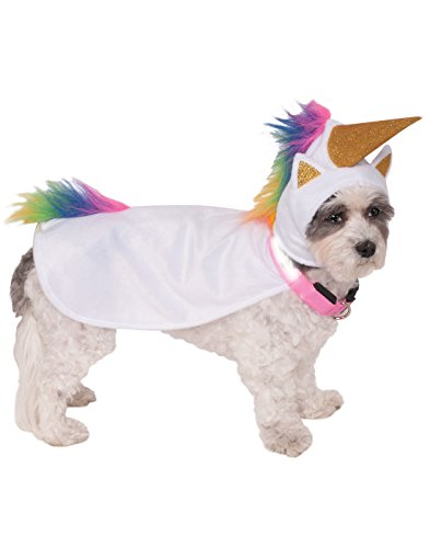 Cats Dressed In Costumes (Rubie's Unicorn Cape with Hood and Light-Up Collar Pet Costume, Medium)
