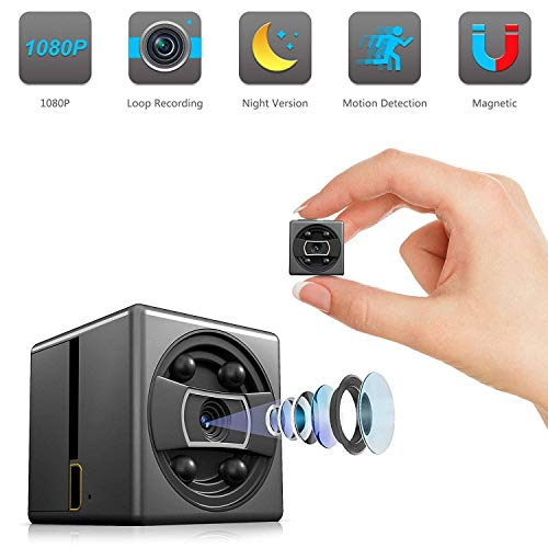 Mini Spy Hiddwn Nanny Cameras 1080P Portable, Small Nanny Cam Video Recorder with Infrared Night Vision, Motion Activated, Loop Recording for Pet Baby and Home ()