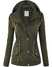 LL Women's Casual Military Safari Anorak Jacket with Hoodie