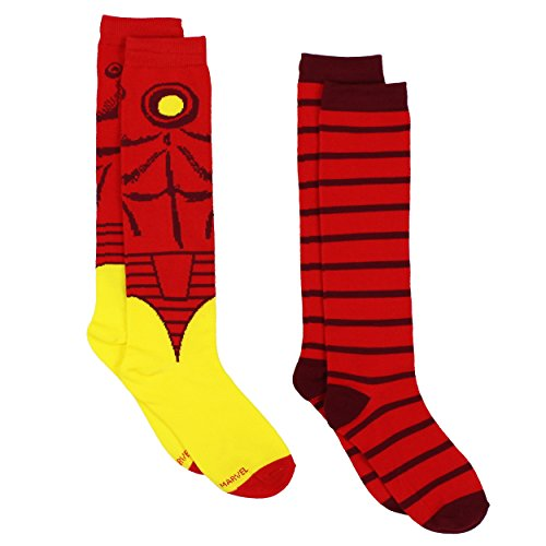 Iron Man Women Costumes (Iron Man Womens Novelty Costume 2 pack Knee High Socks (9-11 (Shoe: 4-10), Iron Man Red/Yellow))