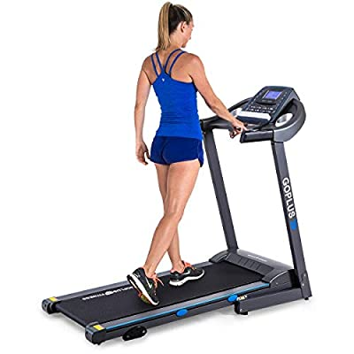 GOPLUS 2.25HP Electric Folding Treadmill with Incline, Walking Running Jogging Fitness Machine with Blue Backlit LCD Display for Home & Gym Cardio Fitness (Black Jaguar ?)