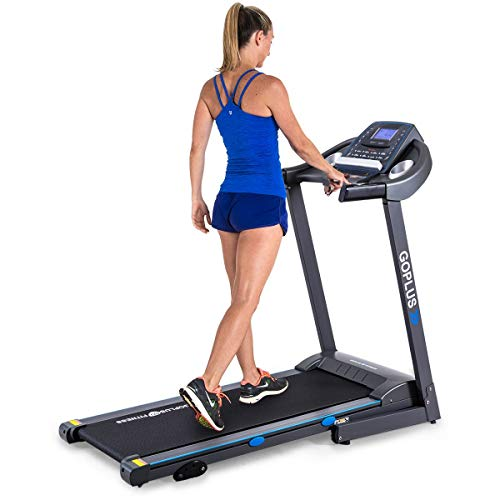 GOPLUS 2.25HP Electric Folding Treadmill with Incline, Walking Running Jogging Fitness Machine with Blue Backlit LCD Display for Home & Gym Cardio Fitness (Black Jaguar Ⅲ) (Best Life Fitness Treadmill For Home Use)