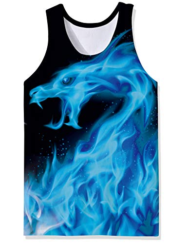 OPCOLV Mens 3D Graphic Printed Tank Tops Cool Dragon Pattern Muscle Sleevelss Tees Gym Workout Fitness Shirts Size XL