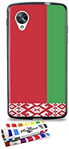 Carcasa Flexible Ultra-Slim GOOGLE NEXUS 5 de exclusivo motivo [Bielorrusia Bandera] [Negra] de MUZZANO  + ESTILETE y PAÑO MUZZANO REGALADOS - La Protección Antigolpes ULTIMA, ELEGANTE Y DURADERA para su GOOGLE NEXUS 5