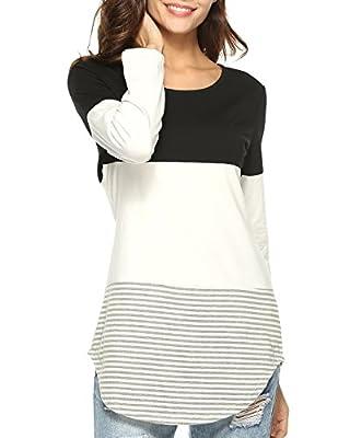 Aliex Women's Tunic Top Casual Long Sleeve T-Shirt Color Block