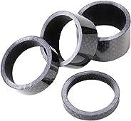"Tesion Bike Carbon Fiber Headset Spacer 4 Pieces Bicycle Headset Spacer 1 1/8"" Set Stem Set 5-10-15"