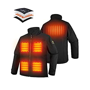PTAHDUS Men's Heated Jacket Soft Shell, Heated Performance Jacket Soft Shell with Hand Warmer (Includes 7.4V Battery Pack).