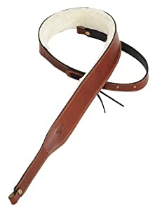 levy 39 s leathers pmb42 wal 2 inch carving leather banjo strap with sheepskin lining. Black Bedroom Furniture Sets. Home Design Ideas
