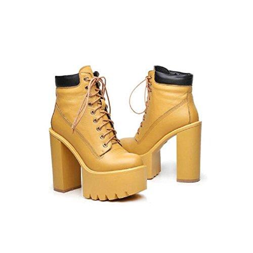Grosso Ankle Bootie confortevole tacco alto piattaforma scarpa a piedi , yellow , 37