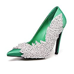 High Heels Shoe With Pointed Toe & Crystals