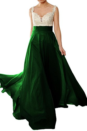 MACloth Women Straps Lace Chiffon Long Ball Gown Prom Formal Dress Wedding Party Verde Oscuro