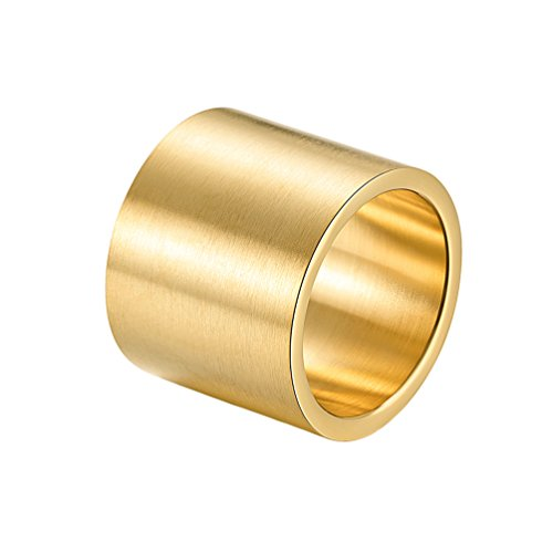 INRENG Mens Womens Stainless Steel 19mm Wide Ring Big Cool Plain Band Matte Finish Flat Top Gold Size 13