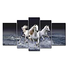 Black And White 5 Panel Wall Art Painting Mystic Horses Running Across Sea Prints On Canvas The Picture Animal Pictures Oil For Home Modern Decoration Print Decor