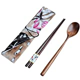 YJYdada Japanese Vintage Wooden Chopsticks Spoon Tableware 2pcs Set New Gift (A)