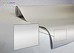 VVIVID XPO White Carbon Fiber Car Wrap Vinyl Roll with Air Release Technology (1ft x 5ft)