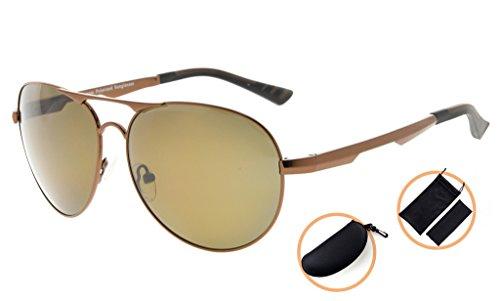 ... Eyekepper Lunettes de soleil Metal monture verres en Polycarbonate  verres Polarisees lunettes soleil style aviateur marron ... d2d36183bca9