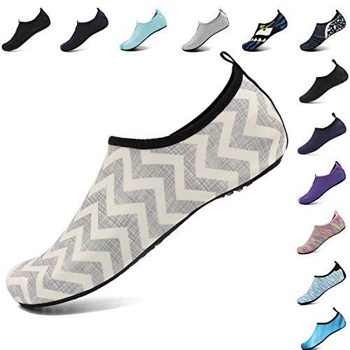 VIFUUR Men Women Swim Water Shoes Barefoot Aqua Socks Shoes