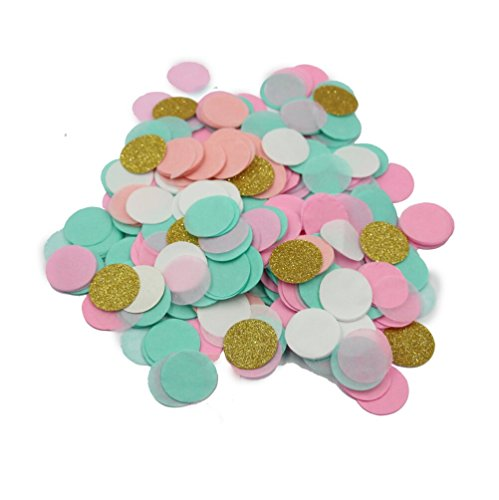 Gold Mint Card - Mybbshower Blush Pink Mint Green Gold Glitter Wedding Confetti Party Table Decor 1 Inch Circle Pack of 2000