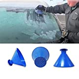 Iuhan  Windshield Ice Scraper, Windshield Snow Cover Ice Removal Wiper, Auto Snow Brush, Car Truck SUV, Scrape A Round Magic Cone-Shaped Windshield Ice Scraper Snow Shovel Tool (Blue)