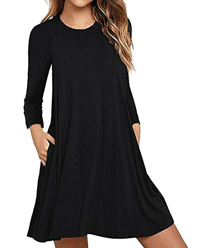 Long Sleeve Tunic Dresses for Women to Wear with Leggings Black Round Neck Cheap Plain Size B