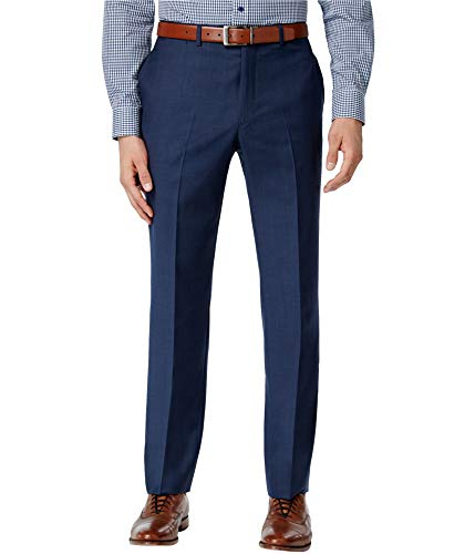 Tommy Hilfiger Mens Flat Front Trim Fit 100% Wool Suit Separate Pant, Blue, 32W x ()