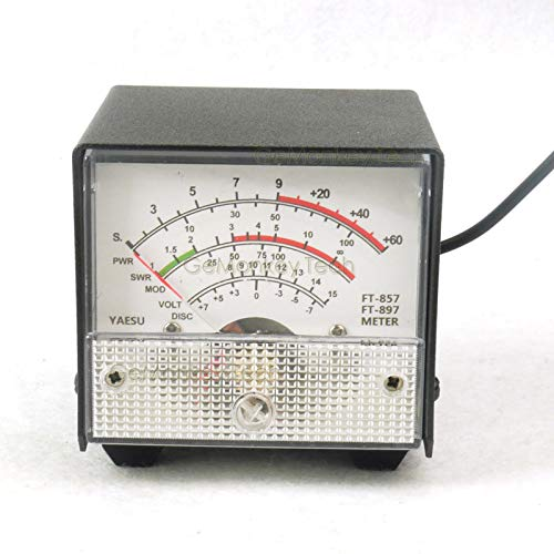 Cailiaoxindong External S Meter/SWR/Power Meter Receive Display Meter for Yaesu FT-857/FT-897 Standing Wave Ratio Meter White