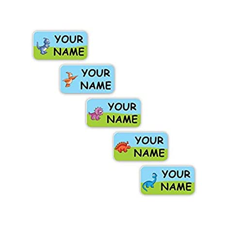 Personalized Waterproof No-Sew Laundry Safe Stick-on Labels for Clothing  (Dinosaurs Theme)