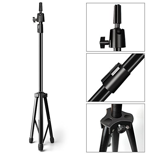 Aimou Wig Stand, Metal Wig Tripod, Adjustable Mannequin Head Holder Stand for Hairdressing Training with Carry Box, 37.80in-67.72in