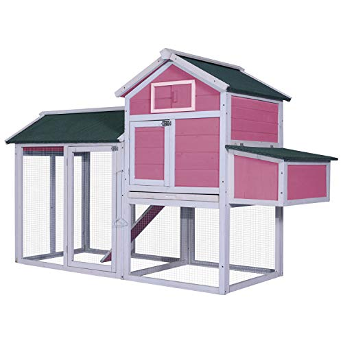 MCombo 0310 Deluxe Wooden Chicken Rabbit Poultry Coop Hen House Pet Cage Backyard, Pink from MCombo
