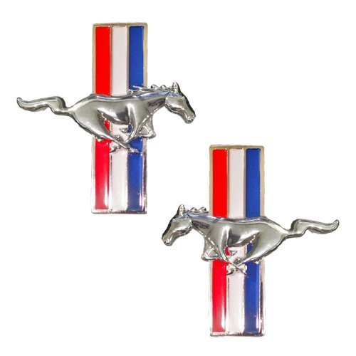 Mustang Running Horse Tri Bar Pony Left and Right Metal Emblems - Pair - Tri Bar Pony