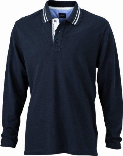James & Nicholson Herren Poloshirt Poloshirt Men's Long-Sleeve schwarz (black/off-white) X-Large