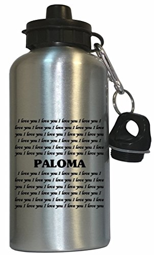 I Love You Paloma Water Bottle Silver