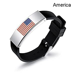 GaoX-H Flag Silicone Bracelet Flag Identification Bracelet 2018 Russia World Cup National Adjustable Wristband for Football Soccer Fans Men Women (America)