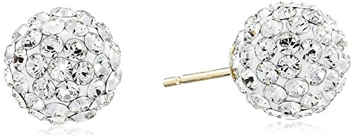 10k Yellow Gold Swarovski Elements Crystal Ball 8mm Earrings with Gold filled Back Earrings