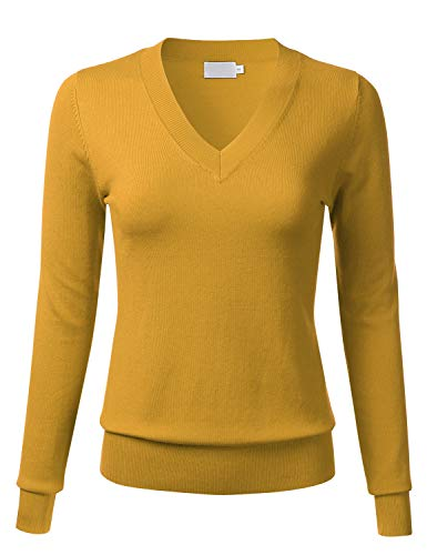 Trim V-neck Knit Top - FLORIA Women's Soft Basic Thick V-Neck Pullover Long Sleeve Knit Sweater MUSTARD3 L