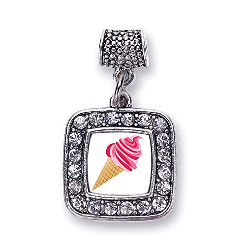 Inspired Silver - Ice Cream Cone Lovers Memory Charm for Women - Silver Square Charm for Bracelet with Cubic Zirconia Jewelry (Ice Cream Cone Bracelet)