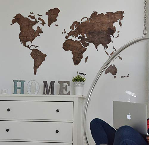 Large World Map of the World Travel map Wall world Cork Rustic Home decor Office decor Wall decor Dorm Living room Interior design Fathers Day Gift - By Enjoy The Wood 100x50cm, 150x90cm, 200x102cm by Enjoy The Wood (Image #2)