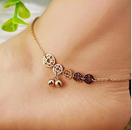 Love i Tassels Anklet Korean Plated 18k Rose Gold Color Foot Chain Anklet Ankle Bracelet Jewelry Women Girls Transit Beads Fashion Simple Steel Hypoallergenic not Fade Ornaments