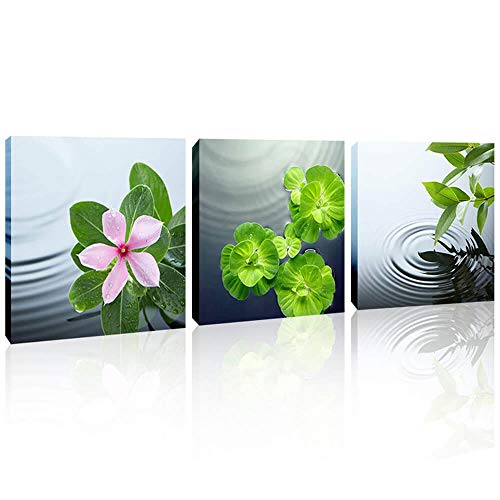 (Bathroom Wall Decor Zen Canvas Wall Art Peaceful Art Wall Decor Flower Pictures Stretched and Framed Still Life Artwork for Home Walls Decoration 12