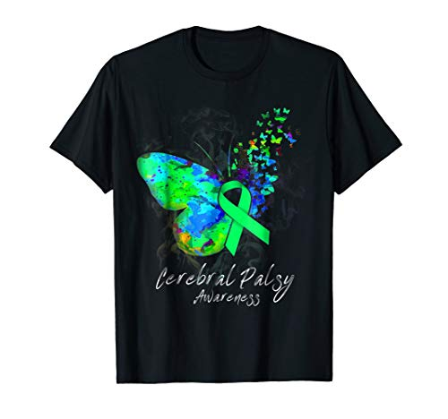 (CEREBRAL PALSY AWARENESS Tee - butterfly ribbon)