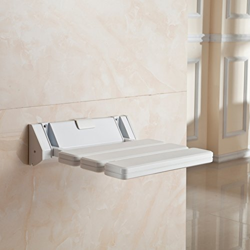 Shower seat,Folding seats Plastic Wall mount Changing shoes stool For adults Eeniors Bathroom Corridor-White (Plastic Seat Toilet Mount Wall)