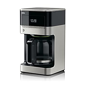 Braun KF7150BK Brew Sense Drip Coffee Maker, Stainless Steel and Black Finish.